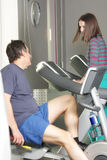 People chatting at workout Stock Photos