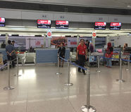 People check-in at the airport in Da Nang, Vietnam Stock Photo