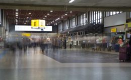 People in Check-in area of Guarulhos Airport, Brazil Royalty Free Stock Image