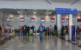 People at the check-in counters in Dalat airport, Lam Dong, Vietnam Stock Image