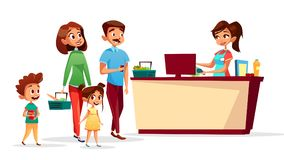 People at supermarket checkout counter vector cartoon. People at checkout counter vector illustration of family with children in supermarket with shopping carts Stock Image