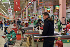 People at the checkout at the supermarket, Royalty Free Stock Image