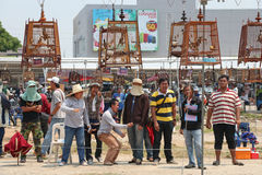 People is cheering and enjoy in. PHITSANULOK, THAILAND - MARCH 29, 2014. People is cheering and enjoy in bird call contest (Red-whiskered bulbul royalty free stock image