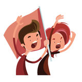 People cheering in race  illustration cartoon character Royalty Free Stock Photo