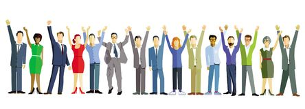 Cheering people illustration. People cheering with raised hands illustrated on white with copy space stock illustration