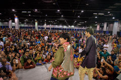 People in Chicago enjoying garba before diwali in Donald E. Stephens Convention Center Stock Photos