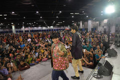 People in Chicago enjoying garba before diwali in Donald E. Stephens Convention Center Royalty Free Stock Images