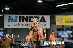 People in Chicago enjoying garba before diwali in Donald E. Stephens Convention Center Stock Photo