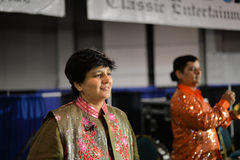 People in Chicago enjoying garba before diwali in Donald E. Stephens Convention Center Royalty Free Stock Photography
