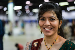 People in Chicago enjoying garba before diwali in Donald E. Stephens Convention Center Stock Images