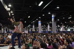 People in Chicago enjoying garba before diwali in Donald E. Stephens Convention Center Royalty Free Stock Photo