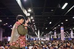 People in Chicago enjoying garba before diwali in Donald E. Stephens Convention Center Stock Image