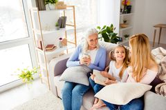 People childhood motherhood friendship trust care support leisure lifestyle concept. Careful attentive pretty blonde-haired mum r royalty free stock photo