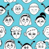 Seamless hand drawn vector pattern with children faces stock illustration