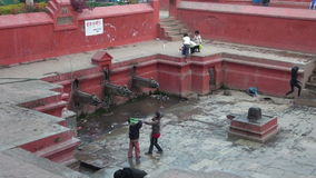 People children pouring water into container from public fountain stock video footage