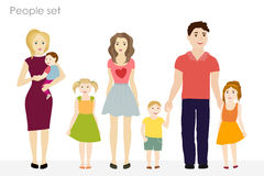 People and children vector at the simple style. Colorful clothes. On a white background Stock Images