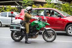 People of Chile. SANTIAGO, CHILE - NOV 1, 2014:  Unidentified Chilean man on the motorcycle. Chilean people are mainly of mixed Spanish and Amerindian descent Royalty Free Stock Images