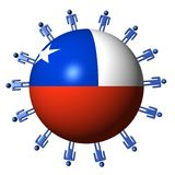 People and Chilean flag sphere Stock Images
