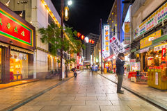 People in Chinatown district of Yokohama at night, Japan Royalty Free Stock Photography