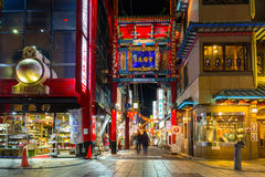 People in Chinatown district of Yokohama at night, Japan Stock Photography