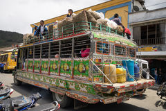 People on chivas bus in Colombia Royalty Free Stock Images