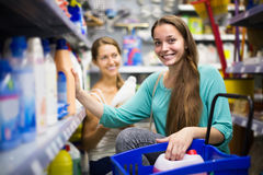 People choose some detergents in the shop Stock Photos