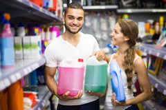 People choose some detergents in the shop Stock Photo