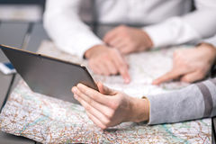 People Choosing Destination Travelling Concept Stock Photography