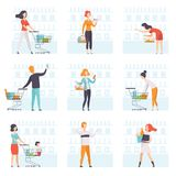 People choosing products, pushing carts at grocery store set, man and woman shopping at supermarket vector Illustration. Isolated on a white background Stock Photos