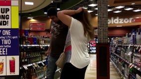 People choosing wine stock video footage