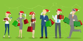 People with christmas royalty free illustration