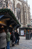 People at the Christmas Fair near Stephansdom, in afternoon, Vienna Royalty Free Stock Photos