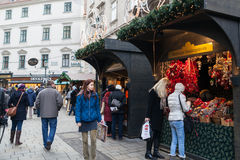 People at the Christmas Fair near Stephansdom, Vienna Royalty Free Stock Photography