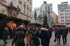 People at the Christmas Fair near Stephansdom, Vienna Royalty Free Stock Photo