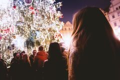 People at Christmas festival Stock Images