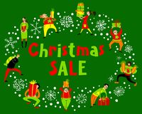 People with Christmas gifts. Christmas sale lettering. Group of Stock Photos