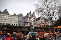 People at Christmas market in Cologne, Germany Royalty Free Stock Image