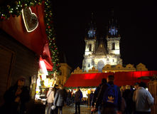 People at Christmas market Prague Royalty Free Stock Images