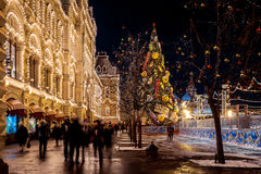People on Christmas market on Red Square, decorated and illumina. MOSCOW, RUSSIA - DECEMBER 17, 2015: People on Christmas market on Red Square, decorated and Royalty Free Stock Image