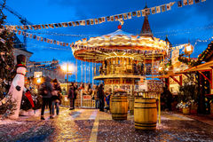 People on Christmas market on Red Square, decorated Royalty Free Stock Image