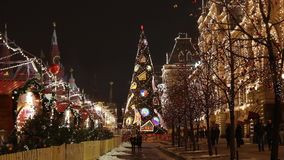 People on Christmas market on Red Square in Moscow, Russia stock video
