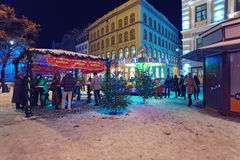 People at a Christmas market in Riga's Old Town Royalty Free Stock Image