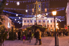 People at christmas market in Tartu, Estonia Stock Photo