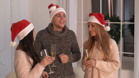 People christmas party with alcohol stock video
