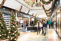 People Christmas Shopping In Mall Stock Photos