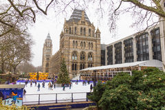 People in the Christmas skating rink by the Natural History Museum, London Royalty Free Stock Photography