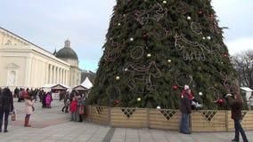 People christmas tree stock video