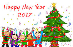 People Christmas Tree Holiday Celebration Happy New Year. Digital drawing illustration of Merry Christmas and Happy New Year 2017 Royalty Free Stock Photo