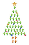 People christmas tree illustration Stock Photography