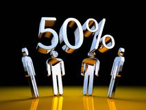 People with chrome digits. 50% SALE. 3d illustration Royalty Free Stock Photos
